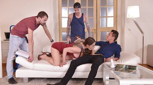 European MILF Cathy Heaven going ass to mouth after double penetration