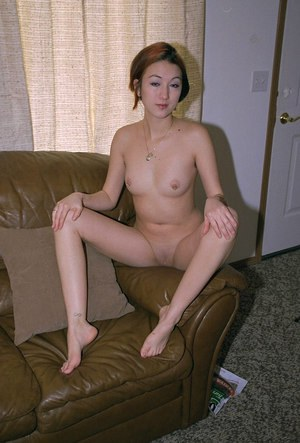 Pierced Asian amateur Hazel showing off hairy armpits and clean shaven cunt