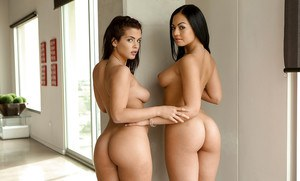 Sexy lesbians Keisha Grey and Karissa Kane revealing big natural breasts