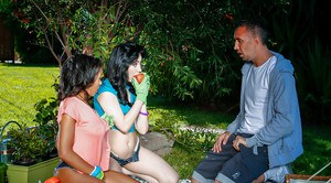 Black and white chicks Anya Ivy and Aria Alexander having threesome on lawn