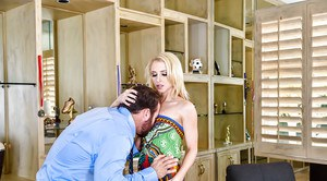 Clothed blonde wife Alix Lynx giving BJ on knees before riding cock