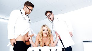 Blonde chick Jemma Valentine undressed for hardcore DP from 2 doctors