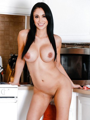 Brunette girl next door Jackie Wood letting big tits loose from dress