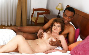 Leggy granny Katala giving BBC oral sex before fucking of hairy vagina