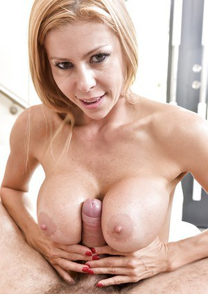 MILF pornstar Alexis Fawx using hooters to deliver titty fuck and catch cum
