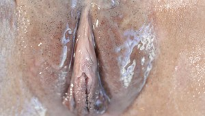Big boobed chick shows off oiled clit during massage before sucking big cock