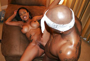 Ebony MILF pornstar Lacey DuValle taking jizz on big booty from BBC