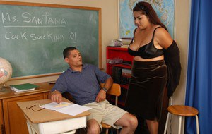 Aged BBW Nikki unleashing huge floppy tits to seduce student for sex in class