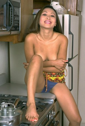 Asian first timer Sexua baring perky boobs and beaver in kitchen
