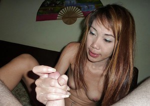 Thai female Pak parting bald cunt for penetration after giving tugjob
