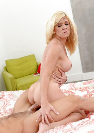 Busty blonde MILF Parker Swayze taking cumshot on tongue after rough sex