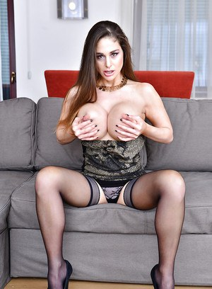 Euro brunette Cathy Heaven unveiling round tits before fingering anus and cunt