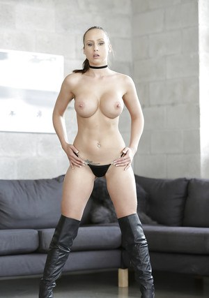 Euro girl Anastasia Hart exposing round tits in micro-skirt and long boots