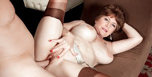 Big boobed granny Bea Cummins taking vaginal and anal sex in tan nylons