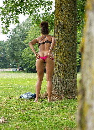 Creepy voyeur watches ebony female Whitney dressing naked body in park