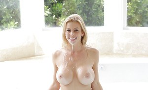 Naked blonde MILF Alexis Fawx having trimmed cunt licked and banged