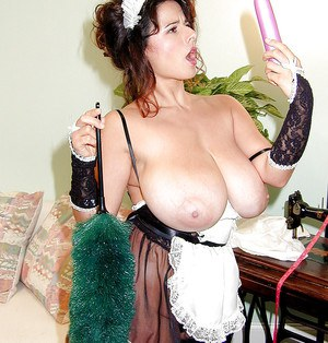Older Euro model Chloe Vevrier freeing nice melons from maid's uniform