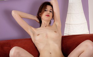 Clothed MILF Tiffanny undressing to exhibit tiny breasts and hairy cooter