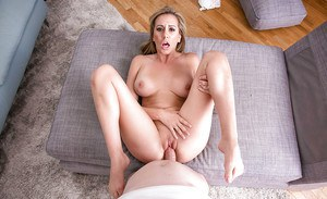 Busty wife Brett Rossi licks and sucks big dick before fucking of bald cunt