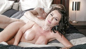 Big boobed MILF pornstar Veronica Avluv engaging in rough sex on bed