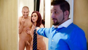 Tattooed wife Monique Alexander caught sucking and tit fucking cock by husband