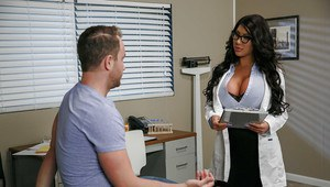 Brunette Latina August Taylor giving oral sex in nurse uniform and glasses