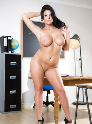 Dark haired coed Emma Leigh unveiling large tits in classroom