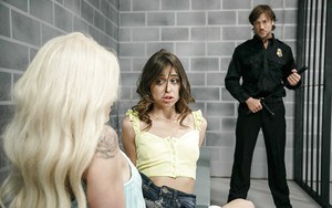 Teen pornstars Riley Reid and Elsa Jean eat pussy and suck cock in prison cell