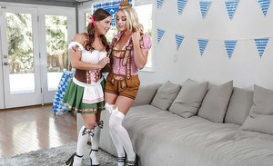 Dyke pornstars Abigail Mac and Alexis Monroe strip down to over the knee socks