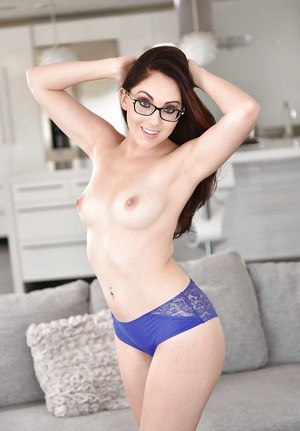Glasses wearing wife Nickey Huntsman baring nice ass while stripping naked