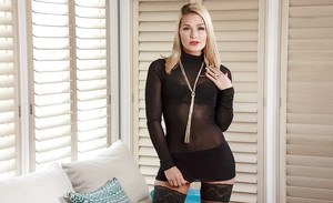 Hot blonde wife Abby Cross showing off sexy ass in black stockings