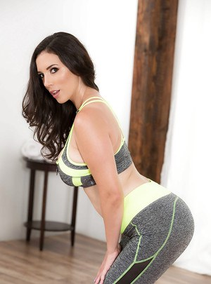 Brunette MILF Jelena Jensen releasing big tits and cunt from yoga clothes