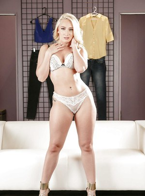 Blonde solo girl AJ Applegate showing off perfect ass while undressing