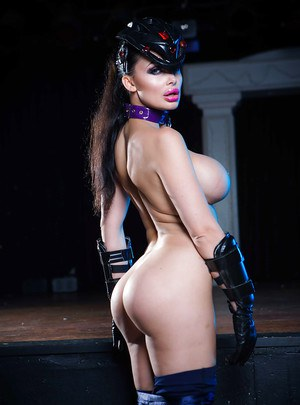 Pornstar Aletta Ocean showing off big tits and nice ass in cosplay attire