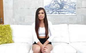 Teen amateur Shane Blair flashing tiny tits before spreading on casting couch
