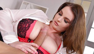 Chubby brunette Tasha Holz frees large tits from bra while satisfying big cock
