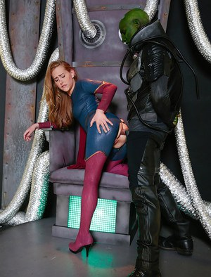 Pornstar Carter Cruise getting fucked by alien in crotchless cosplay outfit