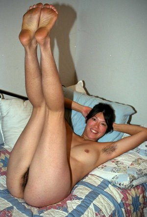 Asian amateur Amanda showing off fur covered underarms before baring beaver