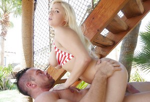 Young blonde female Kylie Page getting fucked with nice tits freed from bikini