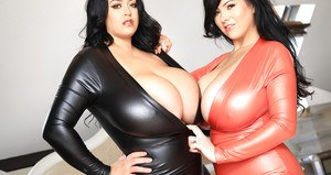 Babe in latex dress Leanne Crow and her friend demonstrate huge tits
