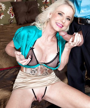 Playful mature with big tits Cammille gets her gaping twat roughly banged