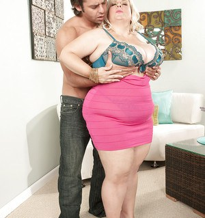 Hot fatty Cassie gets her saggy tits squeezed and pussy drilled by a young guy