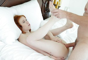 Redhead ten Dolly Little getting banged by huge cock with jizz facial finale