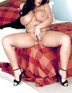 European fatty Kerry Marie shows her giant boobs from different angles