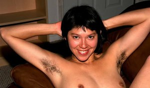 Asian first timer Amanda unveiling hairy armpits and beaver
