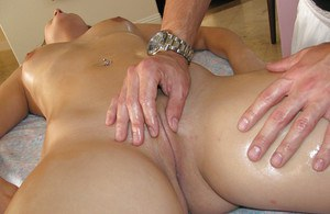 Oiled chick Gracie Glam masturbating shaved cunt after soothing massage