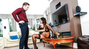 Black chick Kiki Mina seducing her husband in French Maid outfit