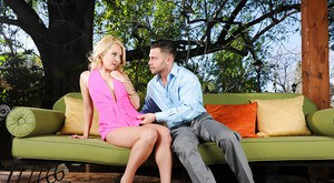 Blonde in pink dress Aaliyah Love swallows big cock and rides it cowgirl style