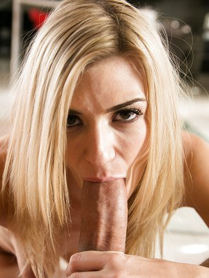 Gonzo actress with blonde hair Amanda Tate licks stem of a dick and rides it