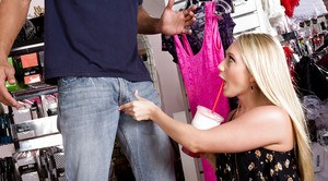 Slutty blonde AJ Applegate gets screwed by super big penis in dressing room